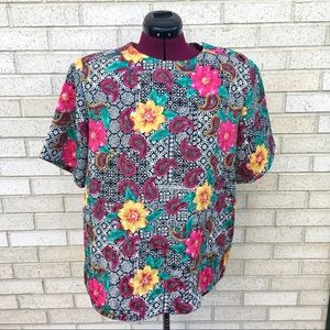 Floral & Paisley Black White Pink Yellow Blouse